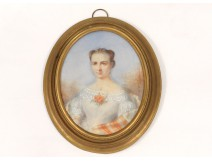 painted oval miniature portrait flowers young woman signed Widow Lallemand 19th