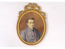painted oval miniature portrait young man dress Adele Lallemand nineteenth