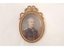 oval miniature portrait painted young man attr officer. Lallemand nineteenth