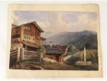Gouache mountain landscape cottage fountain landscape painting XIX century