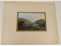 Gouache landscape Germany Rhine characters castle nineteenth century characters