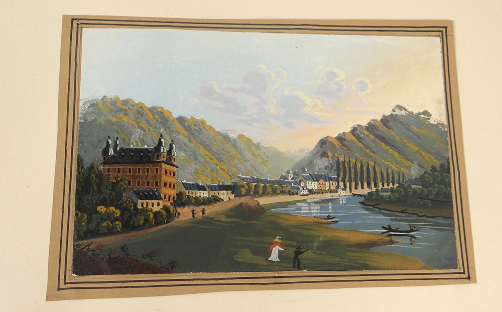 gouache paysage allemagne rhin personnages ch teau personnages xix si cle ebay. Black Bedroom Furniture Sets. Home Design Ideas