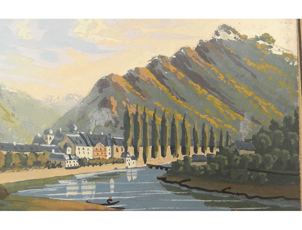 Gouache Landscape Germany Rhine Characters Castle