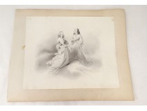 Pencil Drawing spiritual partition characters nineteenth century dresses