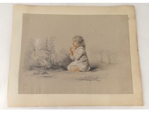 pencil drawing chalk child religious bucolic landscape nineteenth century