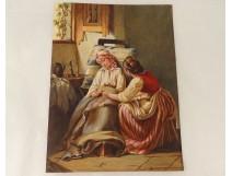 Watercolor scene inside women bedside nineteenth century