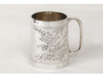 Cup timpani in English sterling silver Victoria lion nineteenth leather case