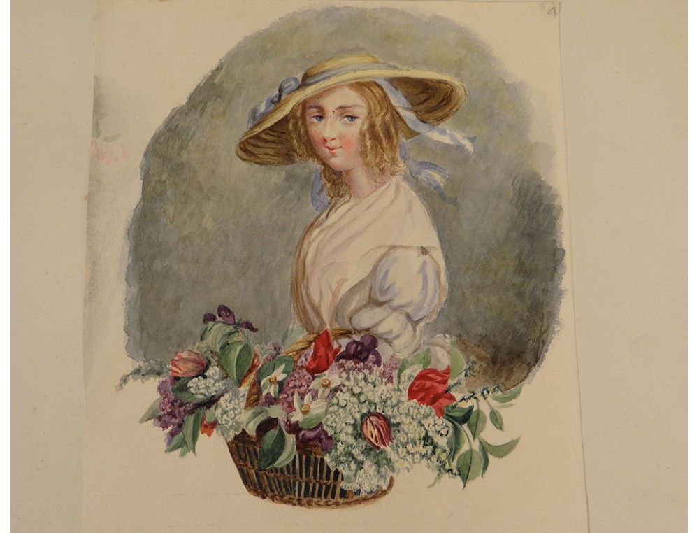 Watercolor Elegant Young Woman Flower Basket Nineteenth