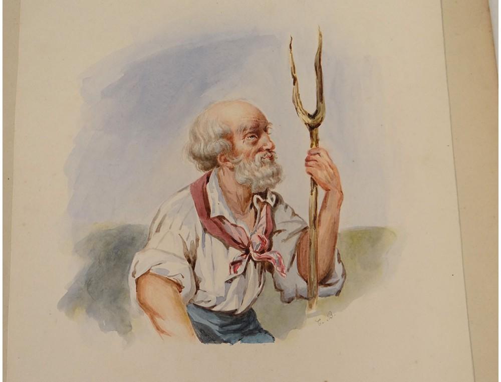 Watercolor Portrait Old Man Scarf Fork Nineteenth Century