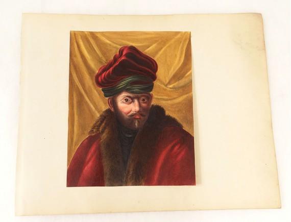 Homme Russe Siècle Gouache Xixème Fourrure Manteau Portrait Turban EbHYe9D2WI