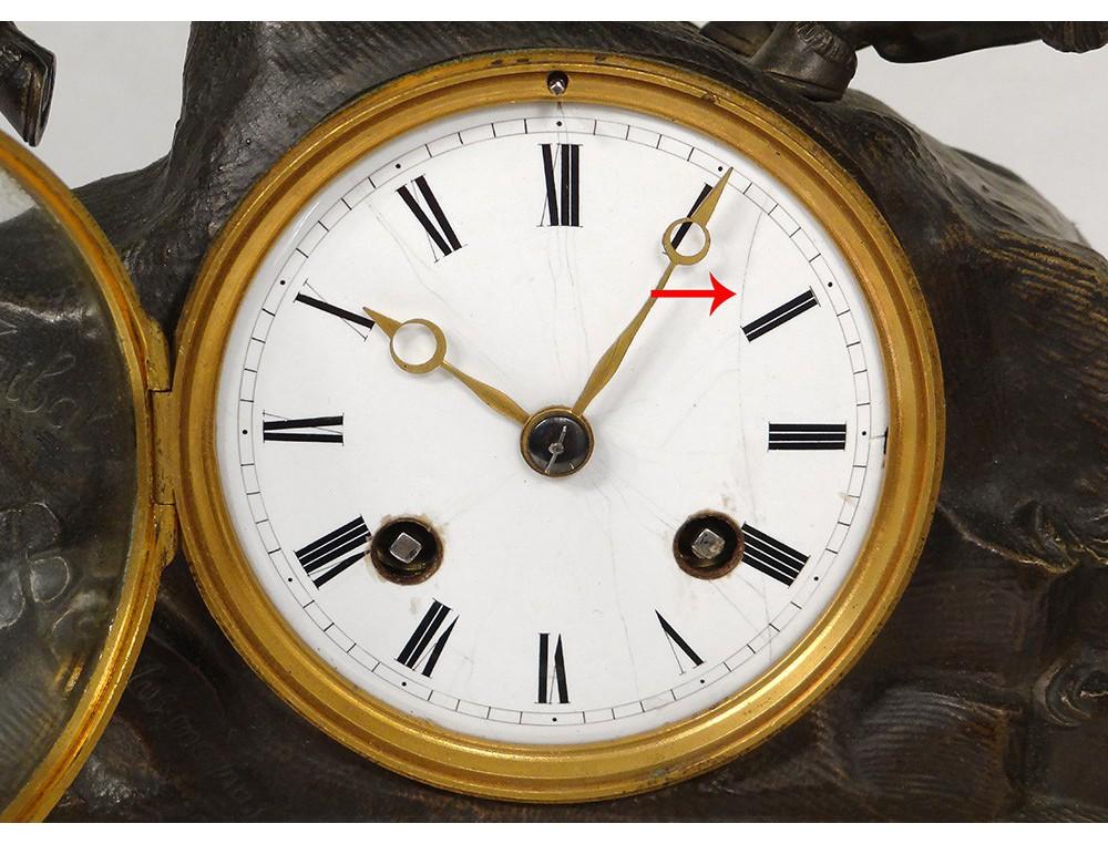 Ormolu Clock Marble Napoleon Bonaparte Alps Hannibal
