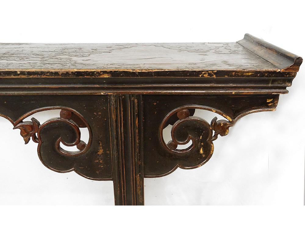 Grande console chinoise bois sculpt laqu noir rouge for Grande table bois