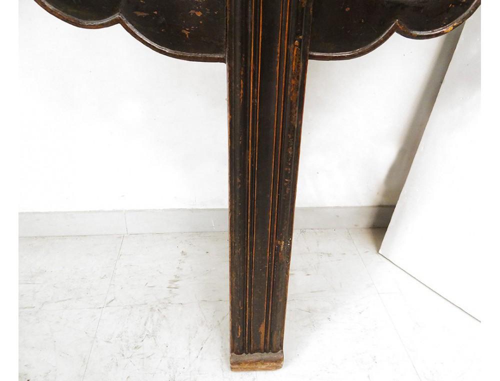 Grande console Chinoise bois sculpté laqué noir rouge  ~ Table Bois Noir