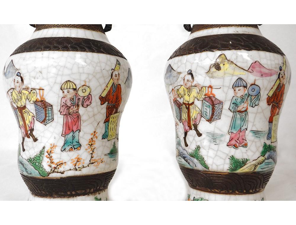 Pair Of Chinese Vase Decorations Nankin Head Elephant Xixth