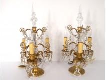 Pair of chandelier pendants golden brass 3 lights