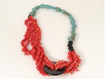 turquoise red coral necklace and contemporary glass beads