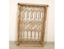 Moroccan wrought iron grille painted wood window Maghreb Morocco Atlas Deco XXth