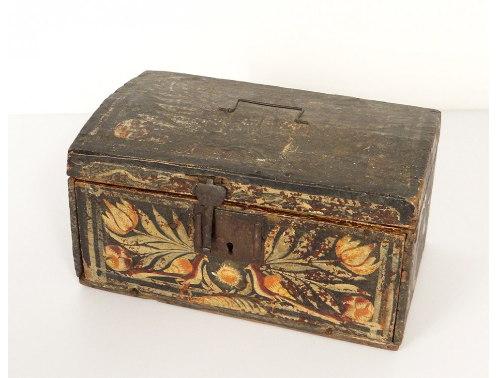 Safe Wooden Box Office And Norman Canvas Painted Xviiith