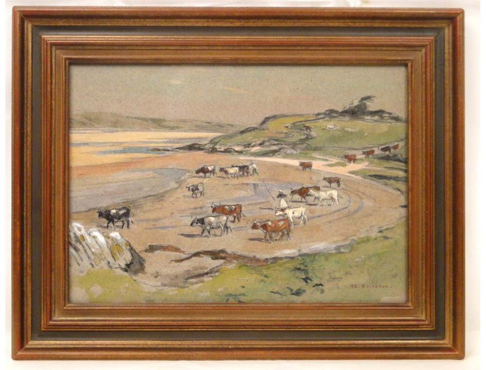 Watercolor Landscape Painting Herd Of Cows On The Beach E Doigneau 20
