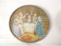 Miniature portrait painted woman signed Labarre framework gilt bronze XIXth