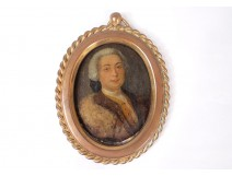 Miniature portrait painted copper att man. Simon Rochard frame bronze XIXth