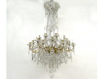 Large chandelier 24 lights crystal chandelier brass ormolu stars XIXè