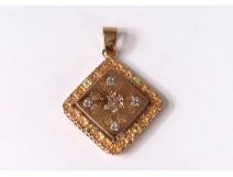 Pendant jewelry solid 18k gold diamond small gold flowers XXth century