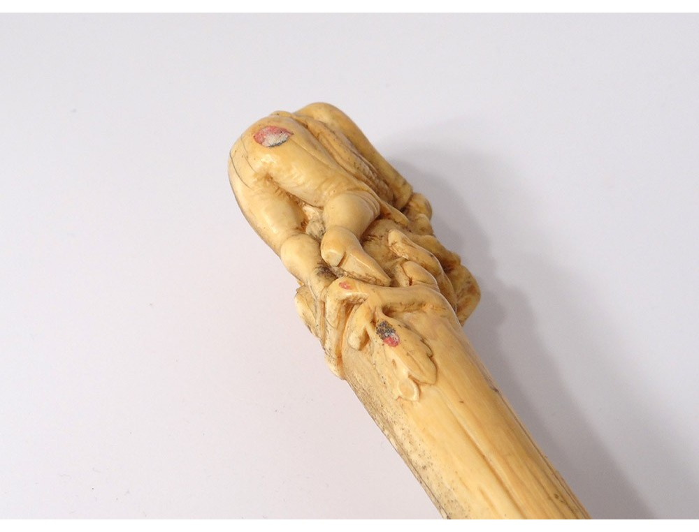 Cane Old Carved Ivory Head Hunter Bird Was Wood Xixth