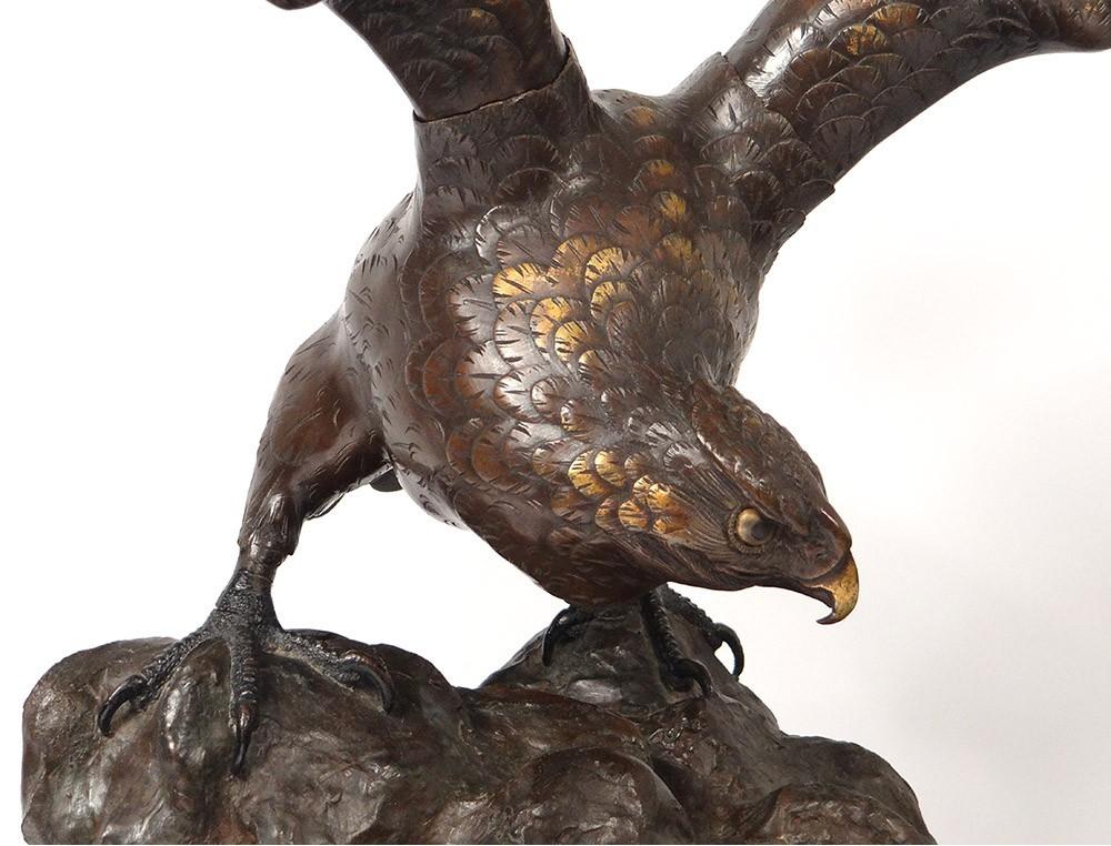 Large Bronze Sculpture Eagle Wings Edo Japan Signed Xixth