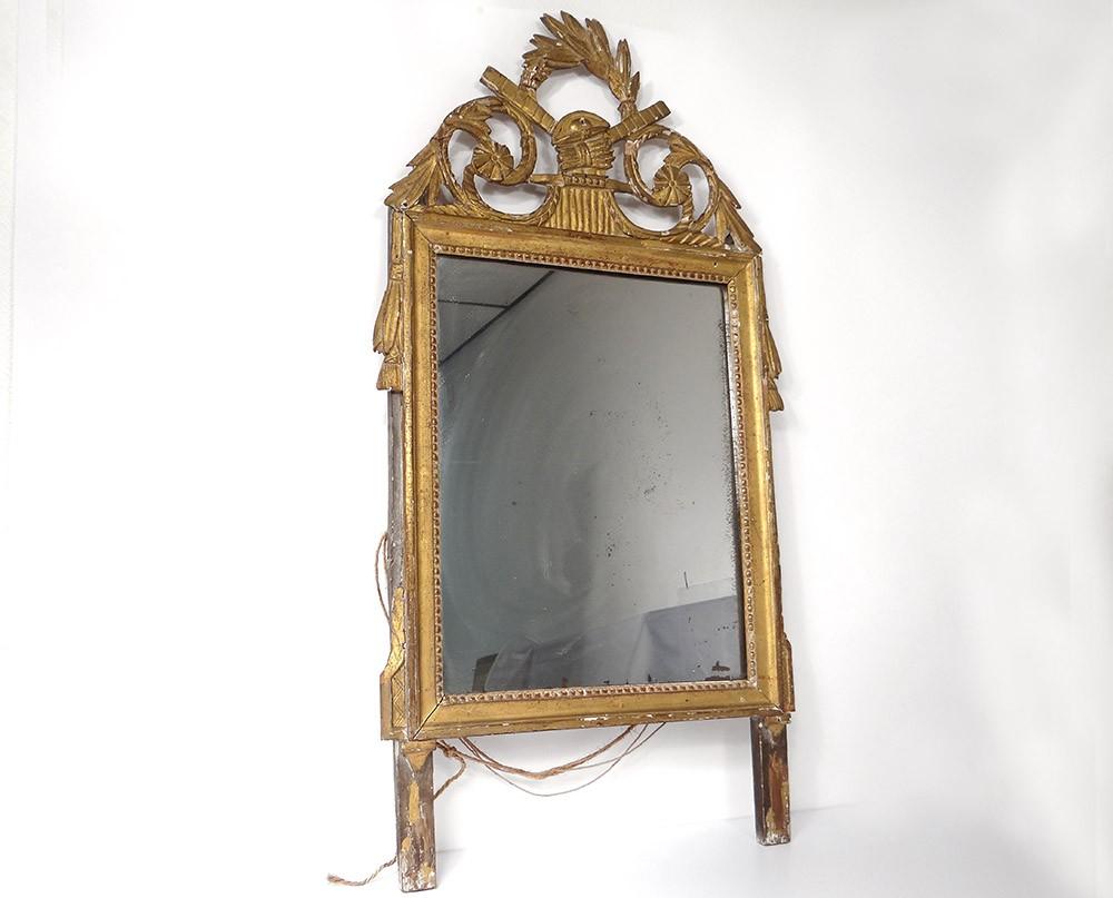 Miroir glace louis xvi bois sculpt dor fleurs pis bl for Force de miroir ebay
