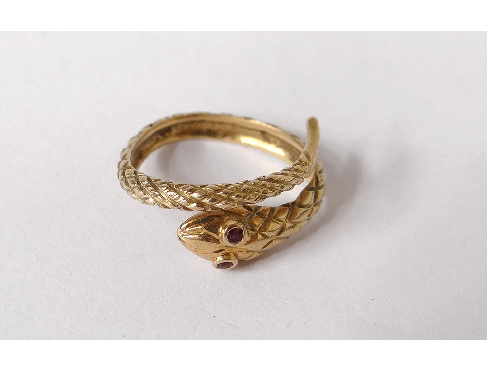 Gold Snake Ring Solid 18k Gold Rubies Eagle Head Twentieth