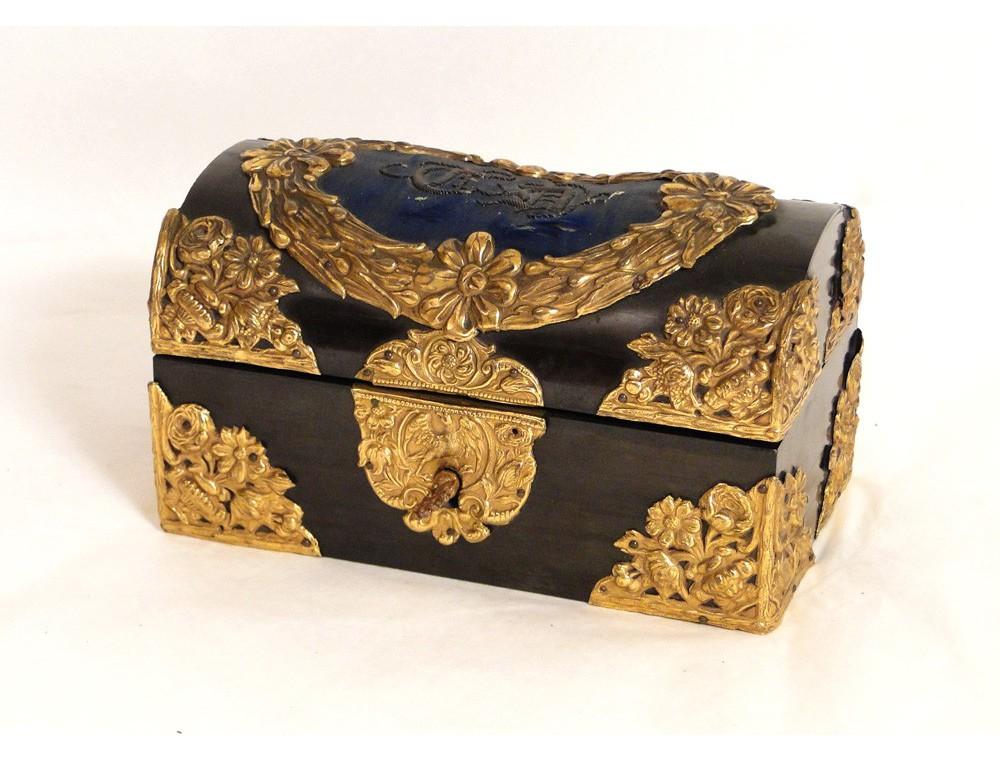 Box jewelry box Louis XIV ebony