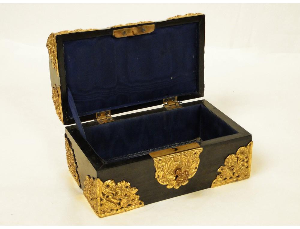 Box Jewelry Box Louis Xiv Ebony And Polished Brass 18th