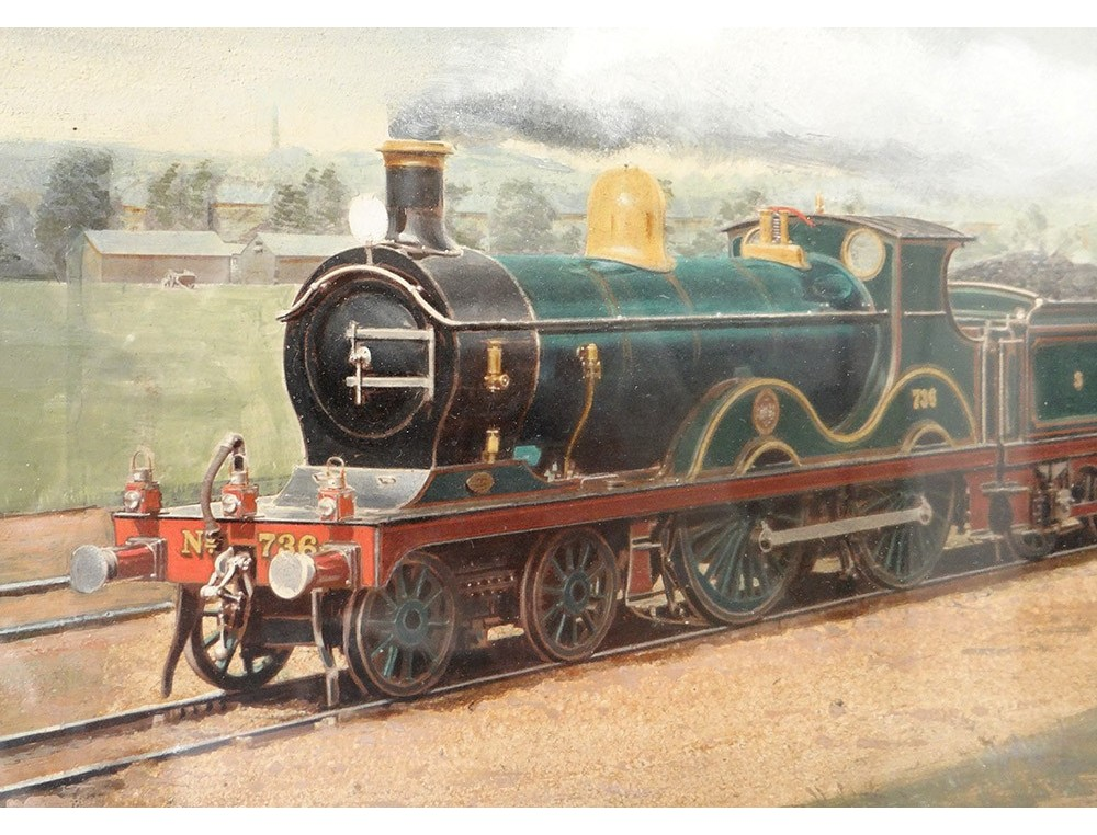 Gouache Painting Locomotive Steam Train Wagons Twentieth