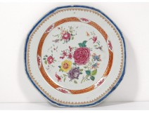 Flat plate porcelain India Company eighteenth pink flowers family