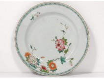 Flat plate porcelain India Company eighteenth green flowers family