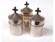 3 holy chrism oil lamps catechumen solid silver cross twentieth Favier