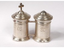 Pair holy Chrism oil lamps baptism silver metal catechumen nineteenth