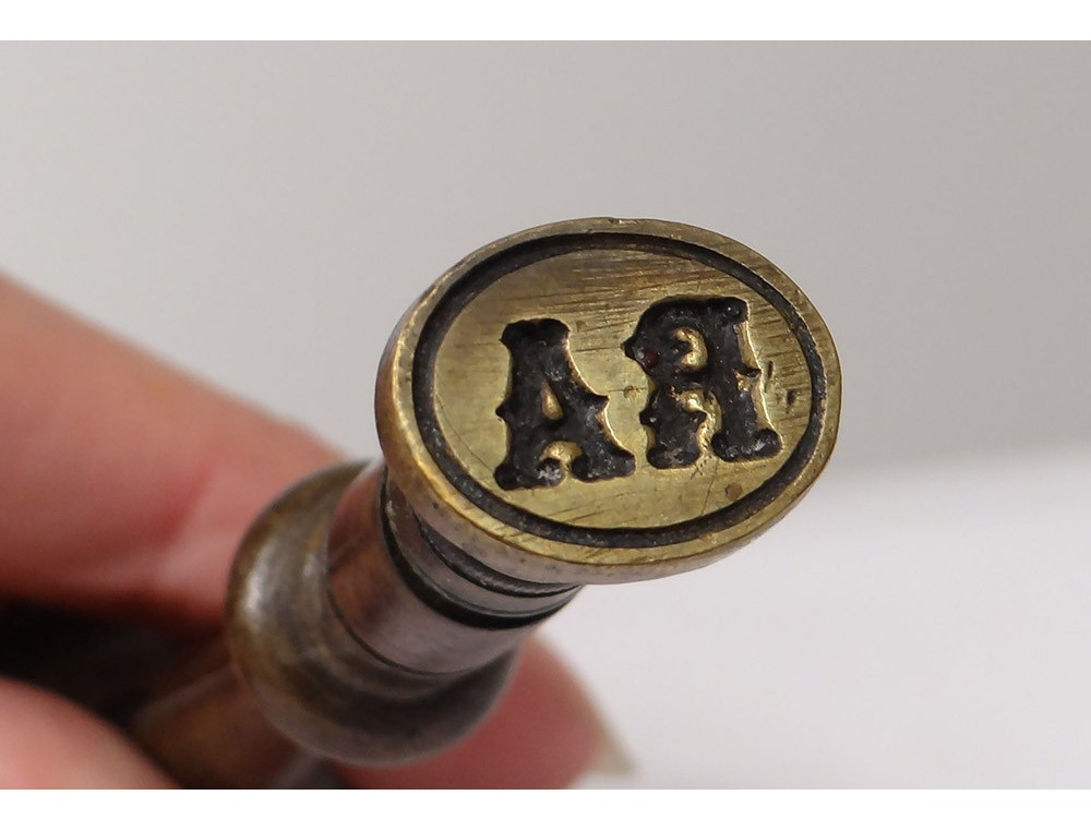 seal bronze handle antique wood monogram stamp seal french nineteenth century