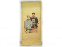 Great rice paper painting portrait Mandarin Chinese dignitary woman XIXth