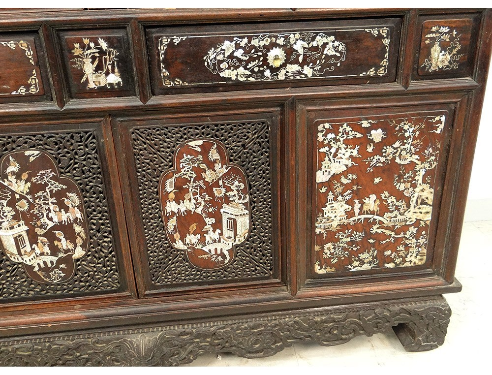 Carved Wooden Office Furniture Pearl Indochina Vietnam