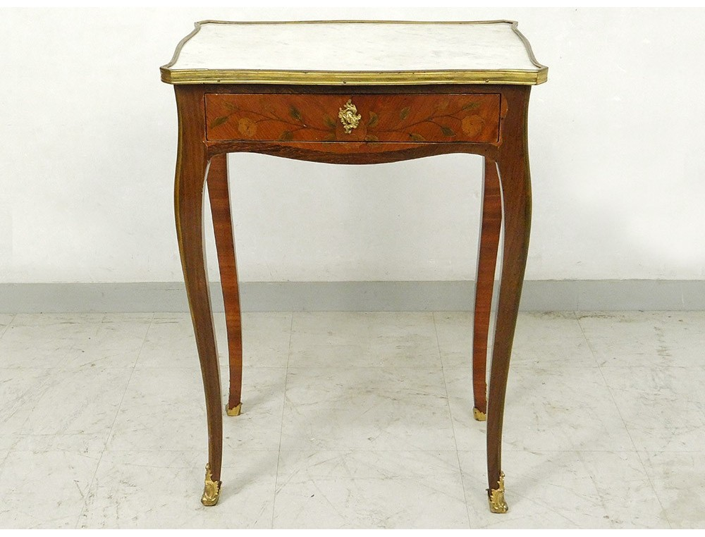 Small side table Louis XV rosewood satin white marble XVIII
