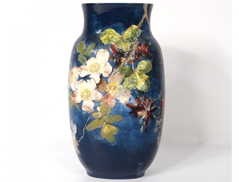 Impressionist Ceramic Earthenware Vase Montigny Sur Loing