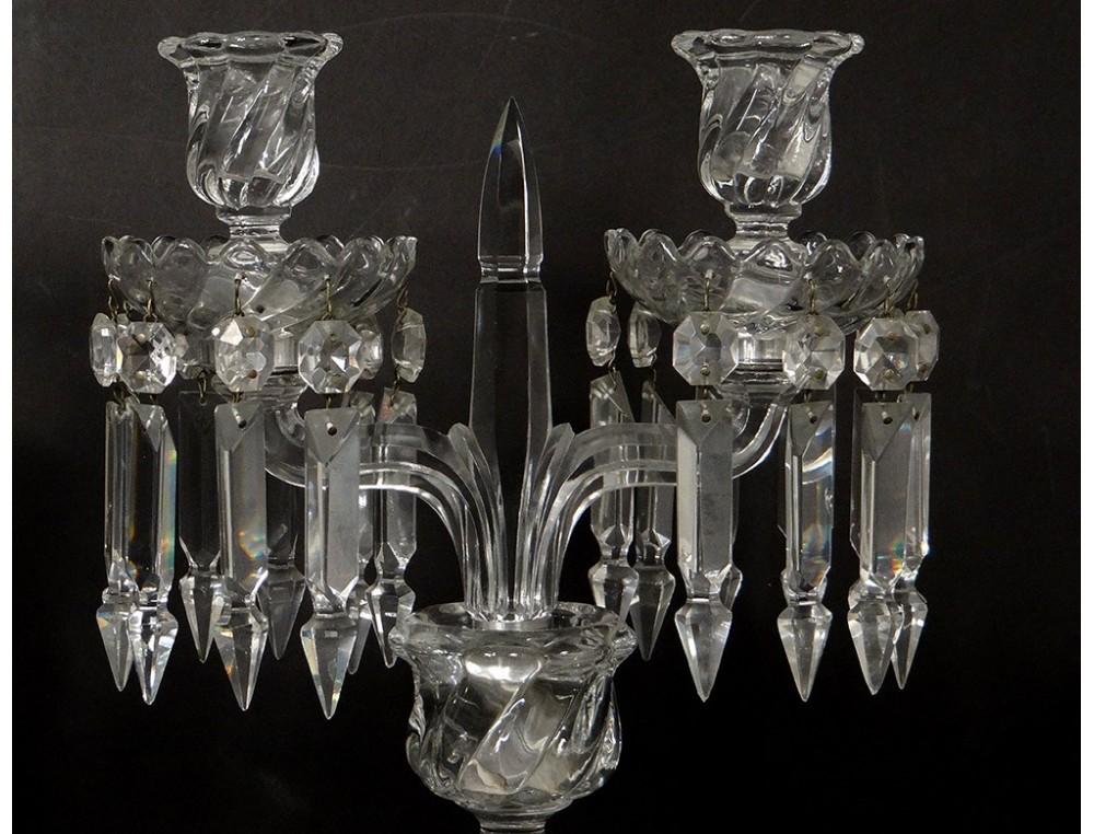 Pair candelabra sconces 2 lights crystal chandelier baccarat pair candelabra sconces 2 lights crystal chandelier baccarat bamboo xxth aloadofball Images