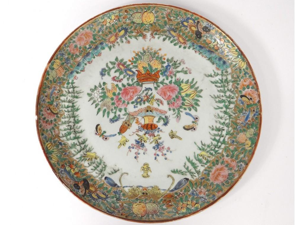Flat Plate Porcelain Vase China Canton Butterflies Birds
