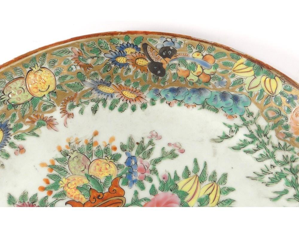 Flat Plate Porcelain Vase China Canton Butterflies Birds Flowers Nineteenth