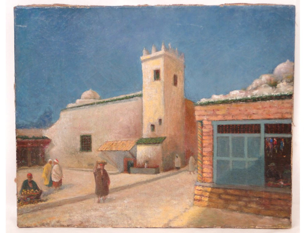 Hst Orientalist Painting Village Casbah Morocco Or Algeria