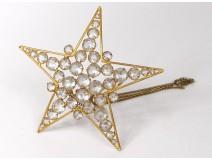Star night light golden brass candle decoration rhinestone nineteenth century church