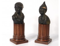 Pair earth sculptures terracotta busts characters woman nineteenth century boy