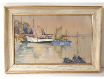 Watercolor gouache marine harbor Douarnenez boats characters twentieth Britain